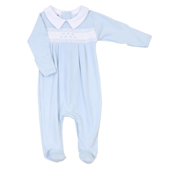Mandy and Mason Blue Smocked Collar Footie