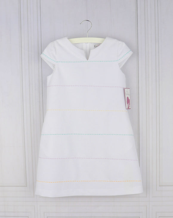 Pique Shift Dress in White