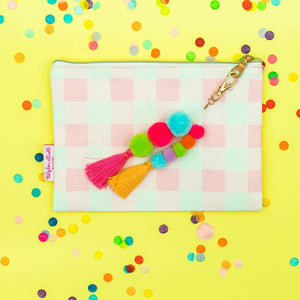 Pink Gingham Pouch with Keychain
