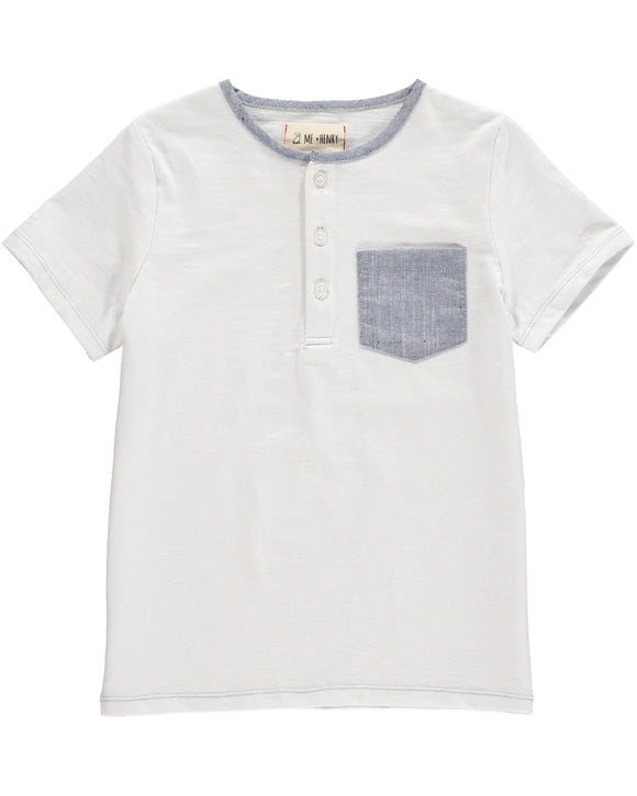White Henley Tee with Blue Pocket
