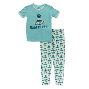 Piece Print Short Sleeve Pajama Set- Aloe Aliens with Flying Saucers