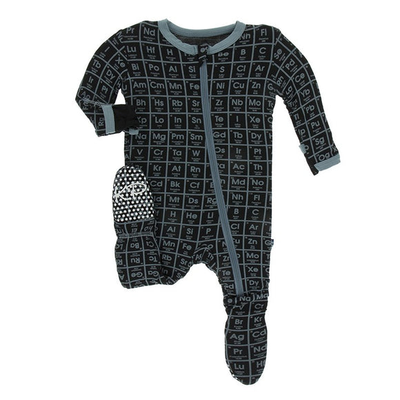 Print Footie with Zipper- Midnight Elements
