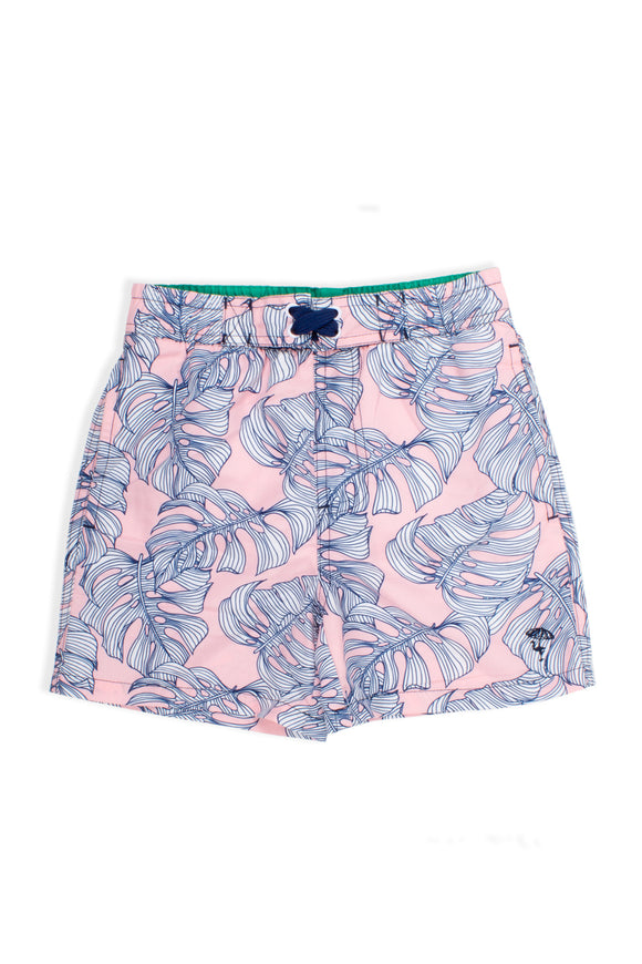 Pink Monstera Swim Trunks