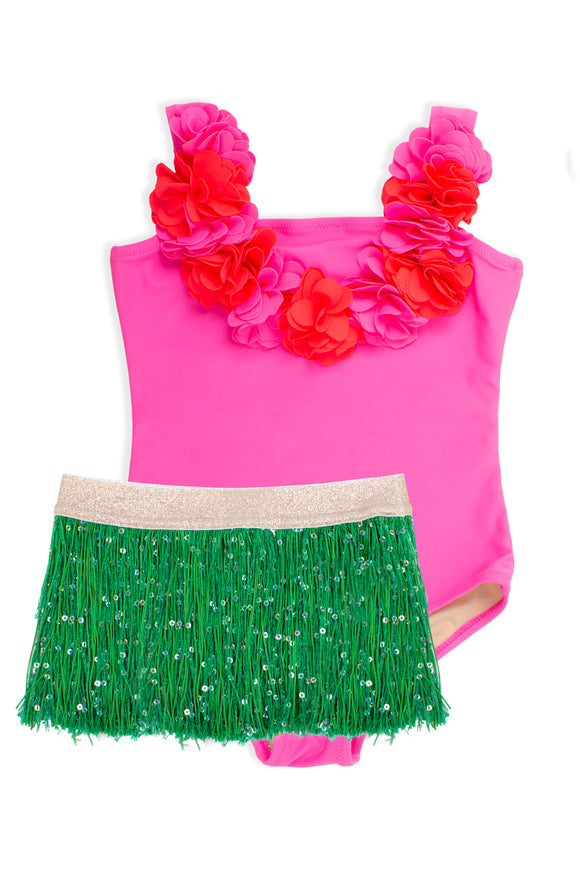 Hula Girl Swimsuit- One Piece with Fringe Tutu
