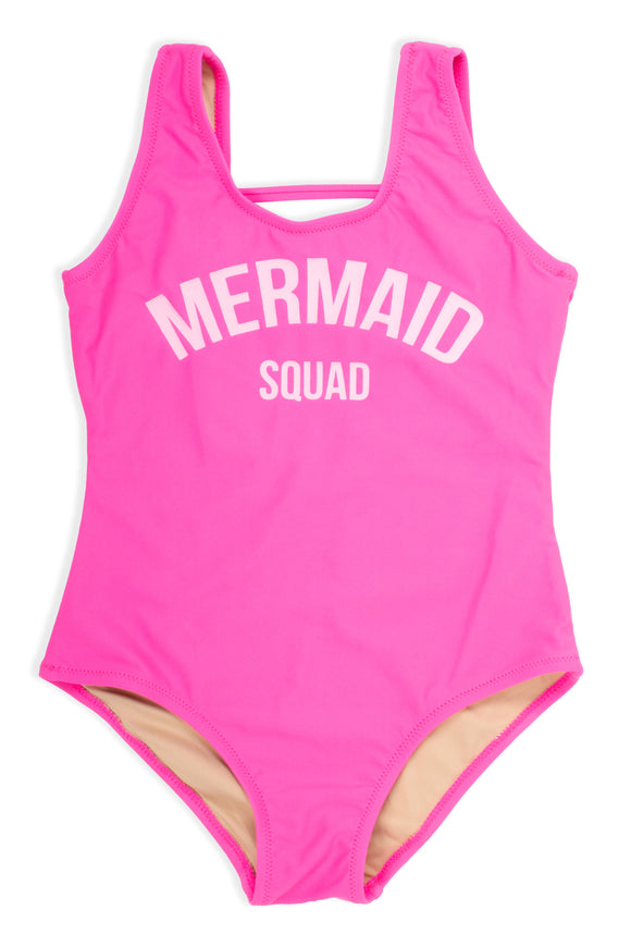 One Piece Swimsuit Hot Pink Mermaid Squad