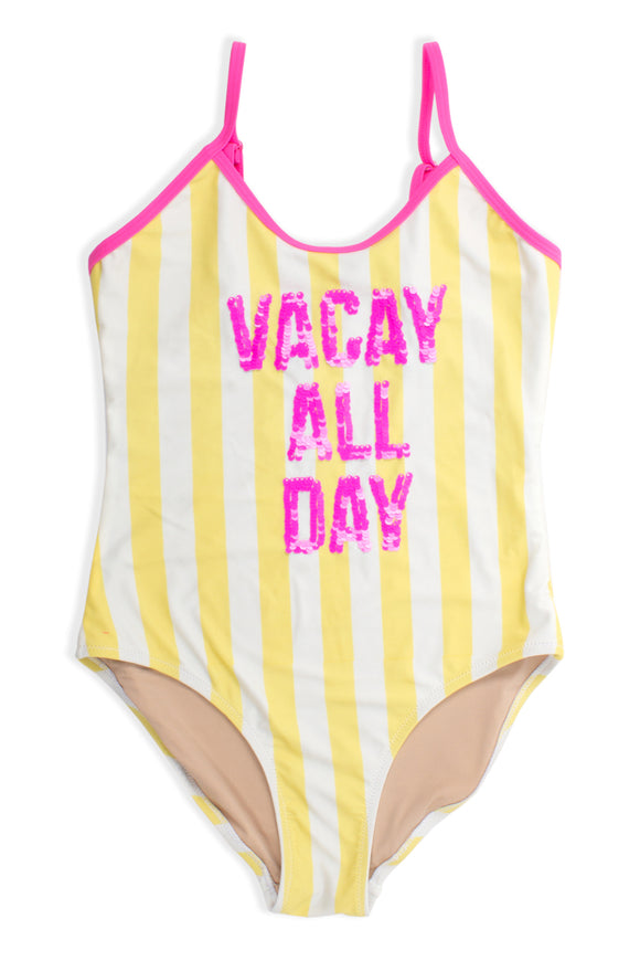 One Piece Flip Sequin Vacay Swimsuit