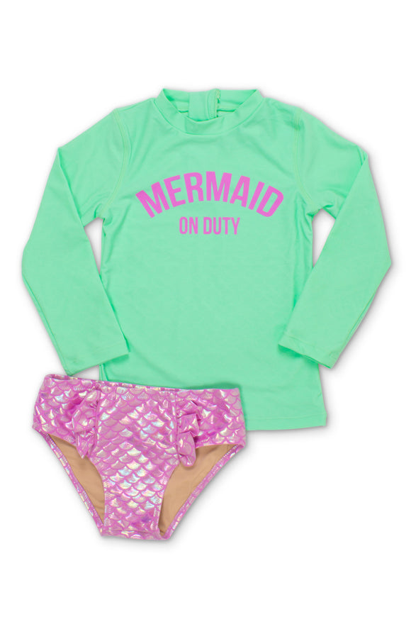 Mint Mermaid On Duty Rash Guard Swim Set