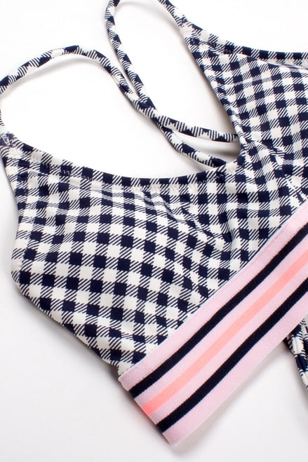 Two Piece Tie Back Bikini- Navy Gingham