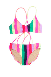 Multi Stripe Tie Back Bikini