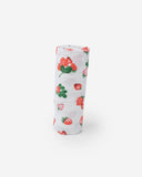Cotton Muslin Swaddle Blanket- Strawberry Patch