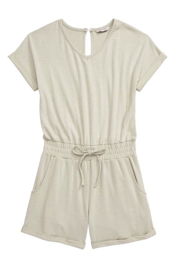Green V Neck Romper