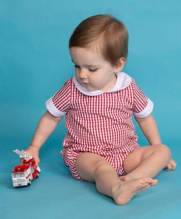Red Gingham Aster Shirt & Diaper Cover