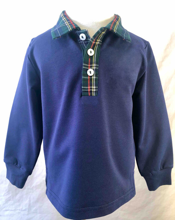 Raleigh Rugby- Navy with Plaid Collar