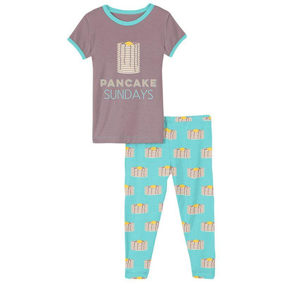 Summer Sky Pancakes Short Sleeve Graphic Tee Pajama Set