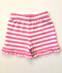 Bubblegum Pink Stripe Ruffle Shorts