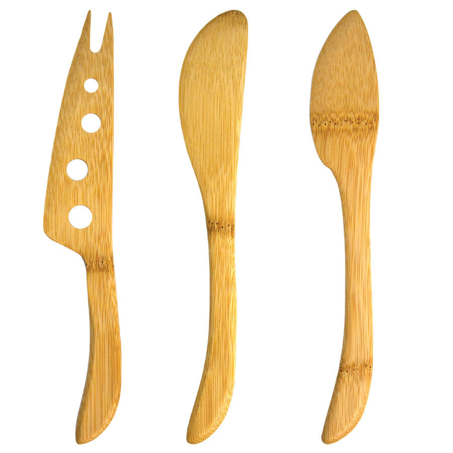 3-Pc Bamboo Cheese Knife Set (#20-2411) - Sample