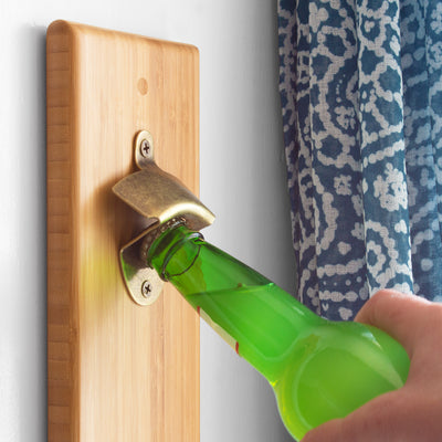 Bamboo Bottle Opener with Magnetic Catch (#20-2424)