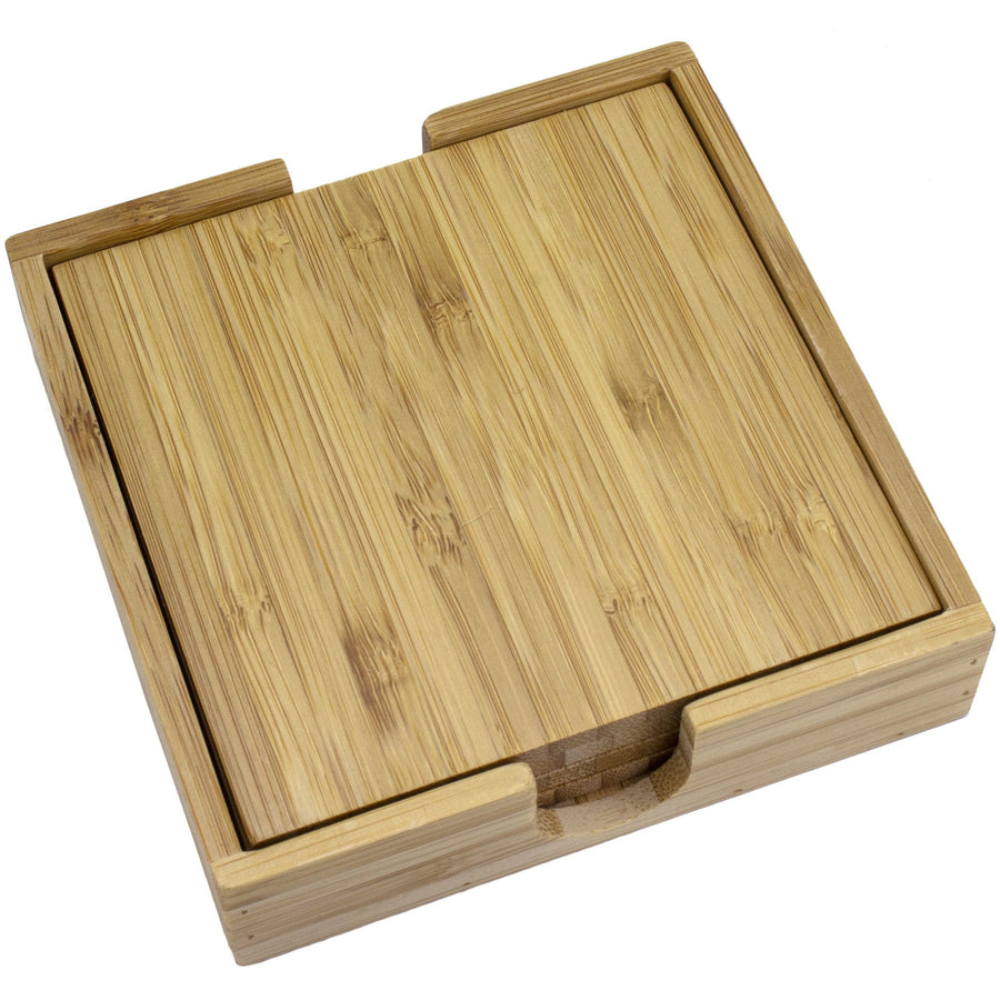 4 Piece Bamboo Coaster Set with Case  (#20-6640) - Sample