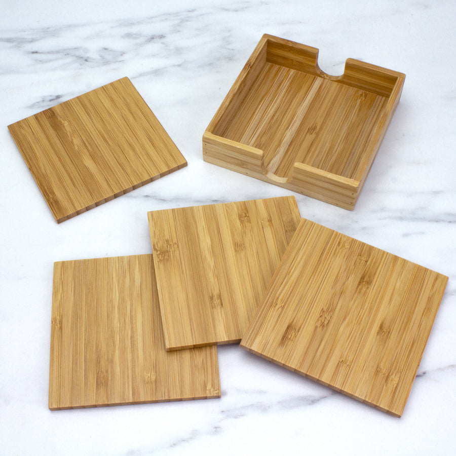 4 Piece Bamboo Coaster Set with Case