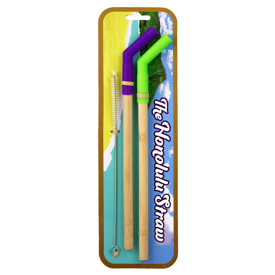 """The Honolulu Straw"" Bamboo Drinking Straw w/ Silicone Tip (2 Pack) (#20-6723) - Sample"
