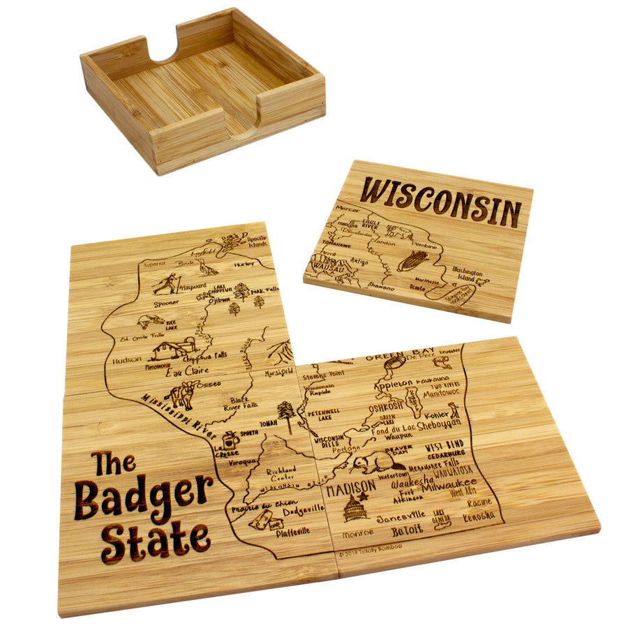Wisconsin Puzzle Coaster Set