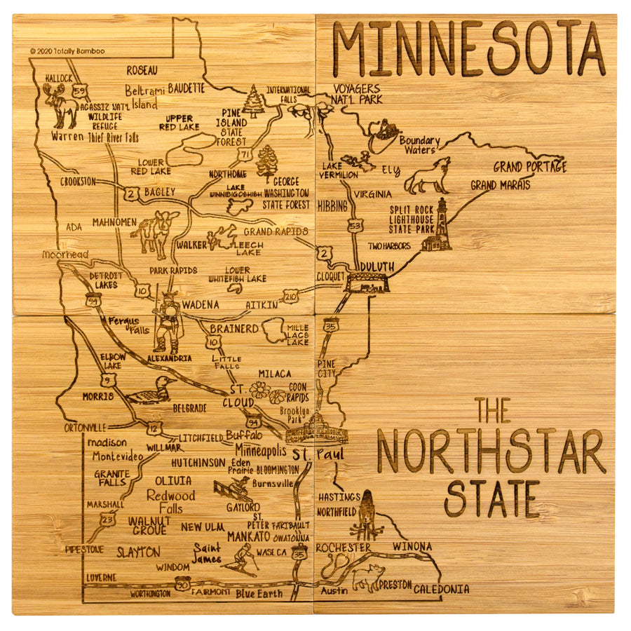 Minnesota Puzzle Coaster Set  (#20-6938)