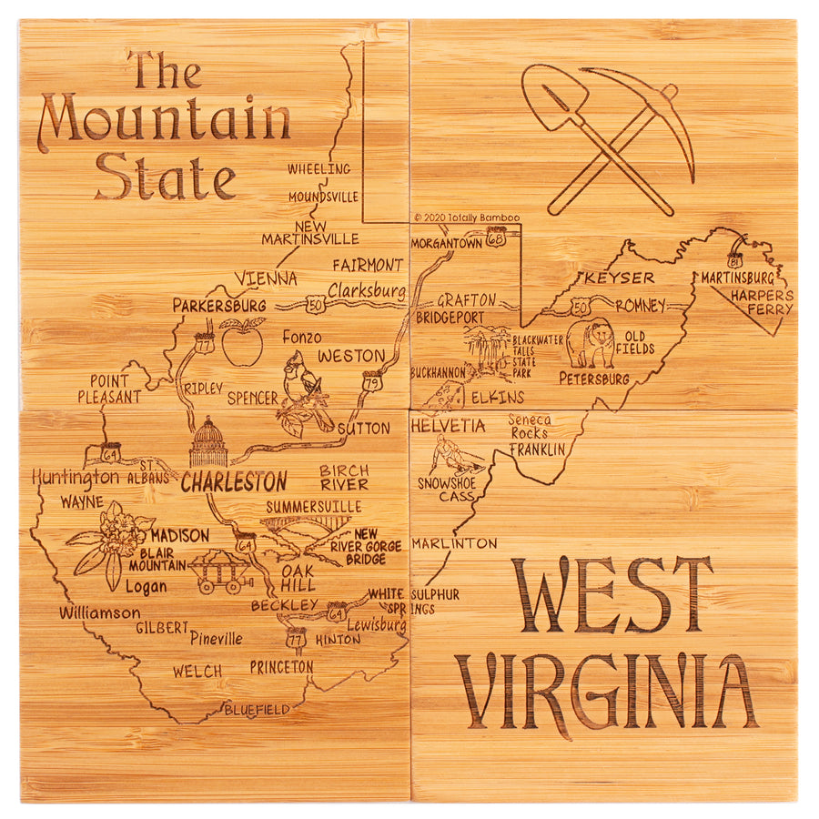 West Virginia Puzzle Coaster Set  (#20-6949)
