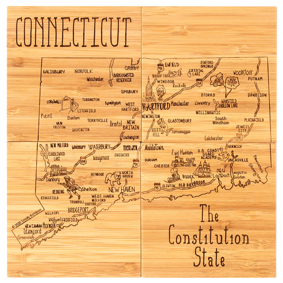 Connecticut Puzzle Coaster Set  (#20-6955)