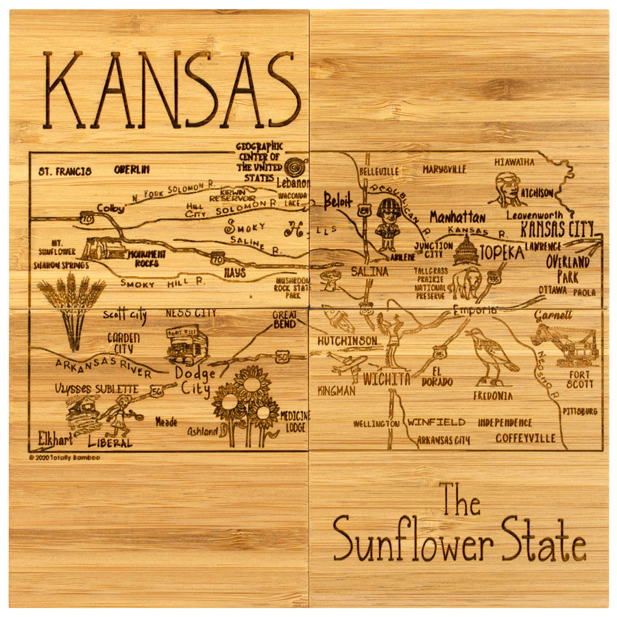 Kansas Puzzle Coaster Set  (#20-6962)