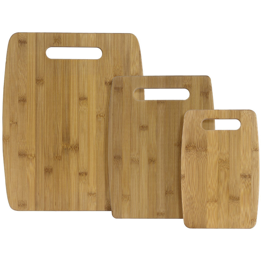 3 Pc Bamboo Cutting Board Set - 3 handles