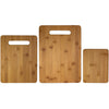 3 pc Bamboo Cutting Board Set - 2 handles