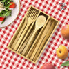 12-Piece Bamboo Flatware Set with Portable Storage Case