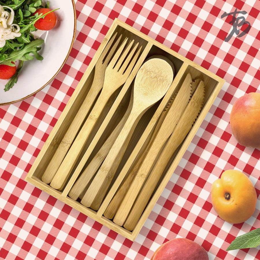 12-Piece Bamboo Flatware Set with Portable Storage Case  (#20-2208) - Sample
