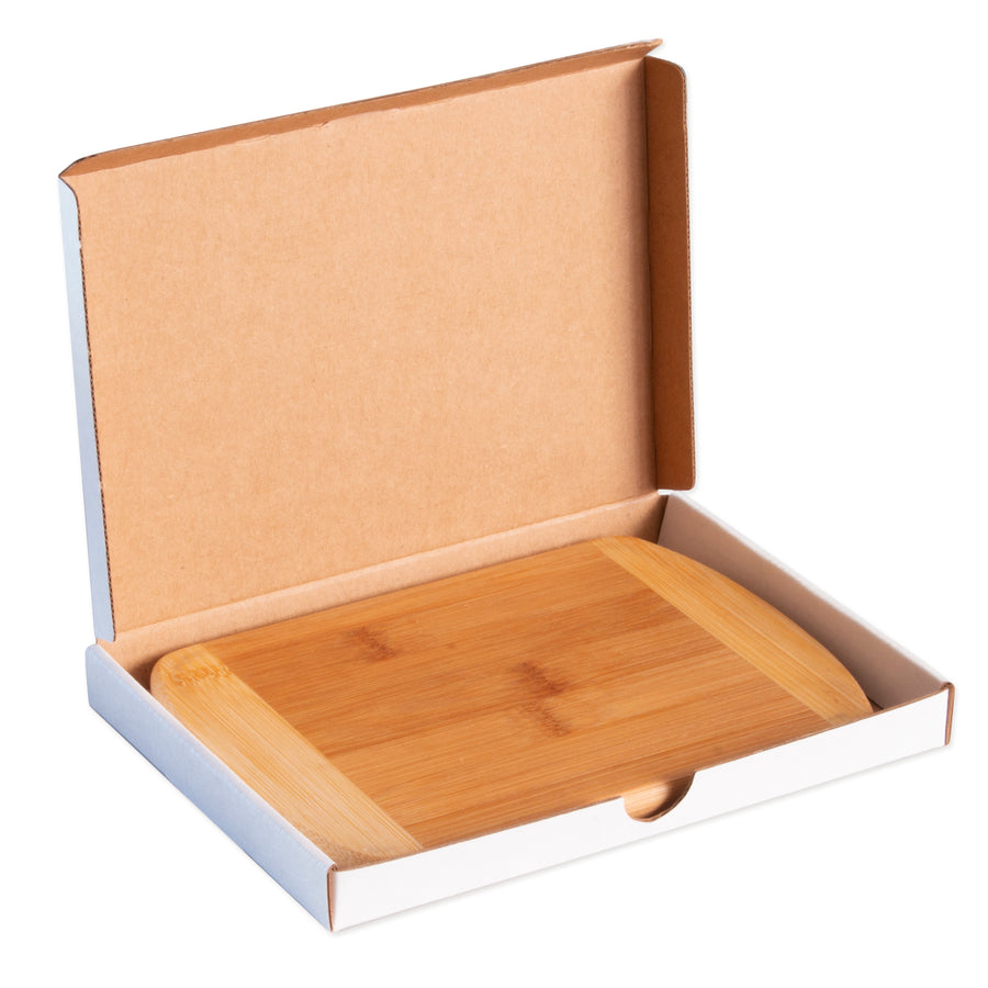"8""Two-Tone Cutting Board with Engraved Gift Box - self promo"