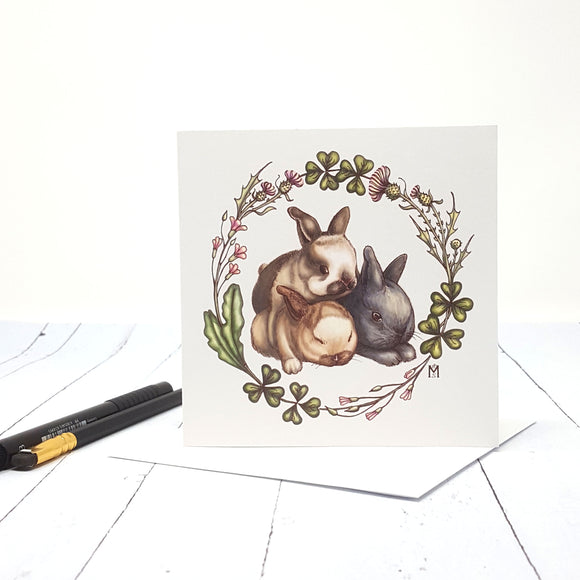 Bunnies and Clover Blank Greeting Card 5.25