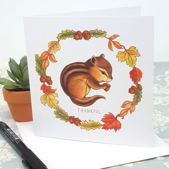 Baby Chipmunk and Fall Leaves Thankful Thank You Greeting Card and Envelope