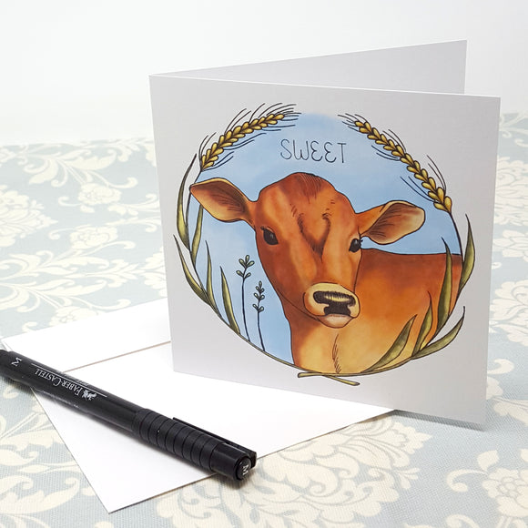 Sweet Baby Brown Calf Cow and Yellow Green Wheat Wreath Blank Greeting Card and Envelope