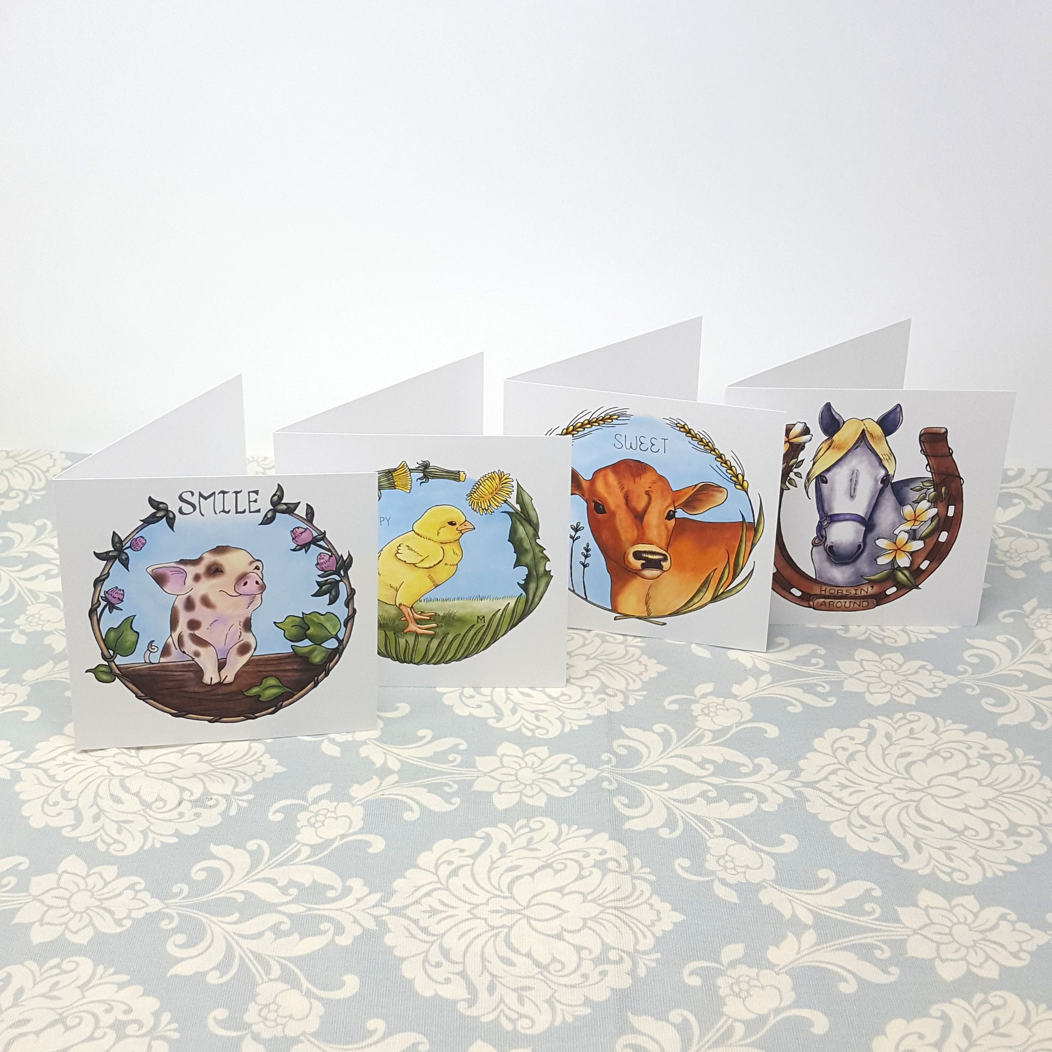 Baby Farm Animal Greeting Card Set Of 4 Pig Cow Chick And Horse
