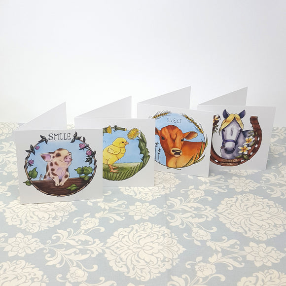 Baby Farm Animal Greeting Card Set of 4: Pig, Cow, Chick, and Horse Square Blank Greeting Cards