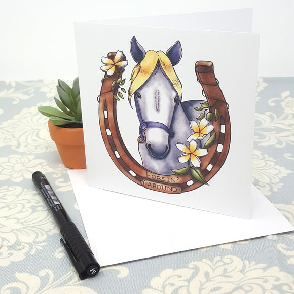 Baby Horse and Lucky Horse Shoe for Horsin' Around and Flowers and Blank Greeting Card and Envelope