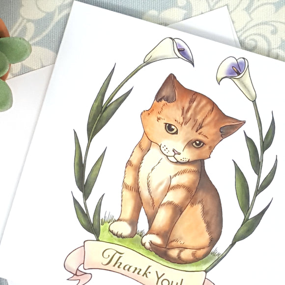 Baby Orange Kitten Cat and Calla Lilies Thank You Card and Envelope