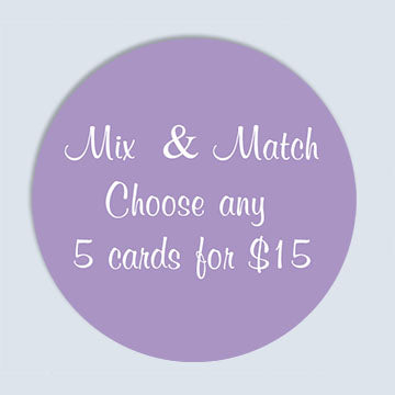 Mix and Match any 5 Blank Greeting Cards and Envelopes