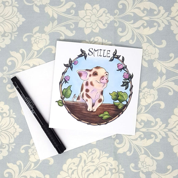 Spotted Cute Baby Piglet Pig and Wreath of Honey Suckles Blank Greeting Card with Envelope