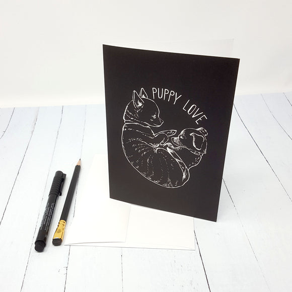 Puppy Love Black and White 5x7 Greeting Card and Envelope