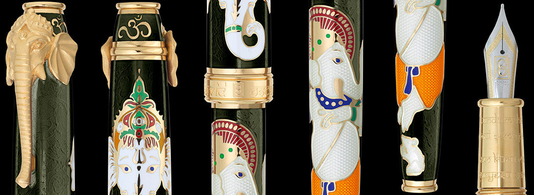 Close up views of Lord Ganesha pen in Mossy Black