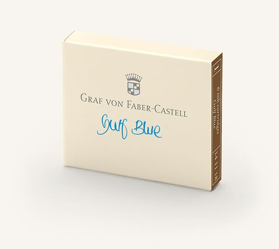 Graf von Faber Castell Guilloche Gulf Blue Ink Cartridges / Bx 6
