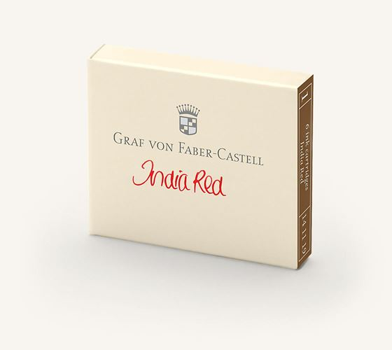 Graf von Faber Castell Guilloche India Red Ink Cartridges / Bx 6