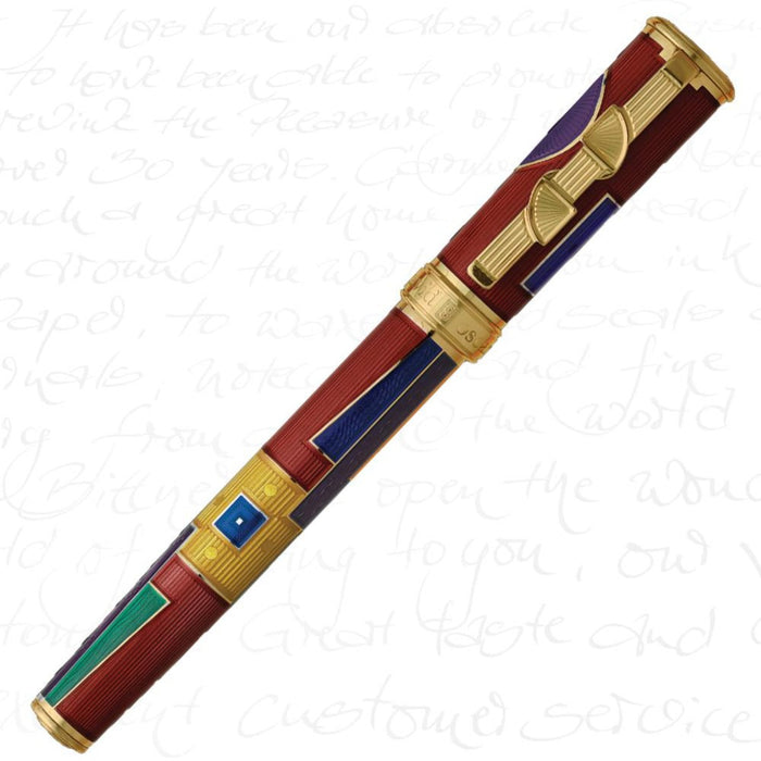 David Oscarson American Art Deco Ruby Red/Gold Trim Pen