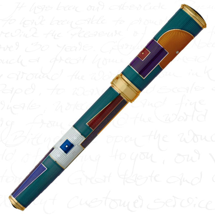 David Oscarson American Art Deco Teal/Gold Trim Pen