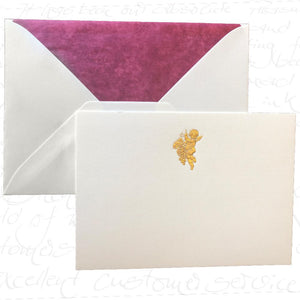 Bittner Engraved Cards - Cherub w/ Burgundy Envelopes (6ct)
